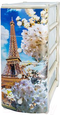 Комод пластиковый Эльфпласт Эйфелева башня 4 (белый)