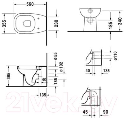 Унитаз приставной Duravit D-Code 21150900002