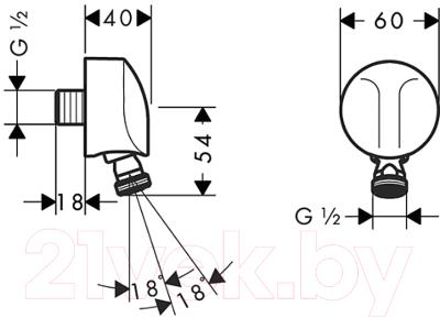 Подключение для душевого шланга Hansgrohe Fixfit Е 27505000