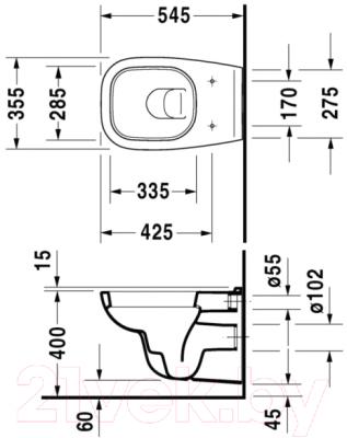 Унитаз приставной Duravit Set D-Code 45350900A1