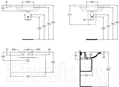 Умывальник Ideal Standard Connect E812801