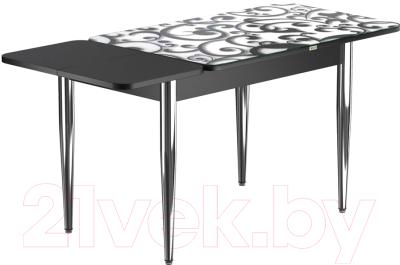 Обеденный стол Васанти Плюс ПРФ 120/163x80/1Р/ОЧ (хром/122)