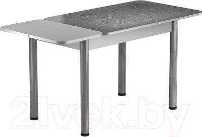 Обеденный стол Васанти Плюс ПРФ 120/163x80/Р/ОА (алюминий/капли серые)