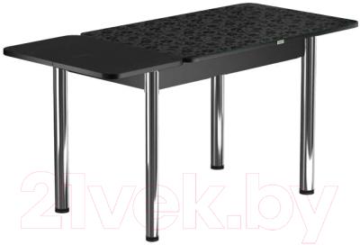 Обеденный стол Васанти Плюс ПРФ 120/163x80/Р/ОЧ (хром/Жасмин Ч)