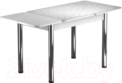 Обеденный стол Васанти Плюс ПРФ 120/163x80/Р/ОБ (хром/Жасмин Б)