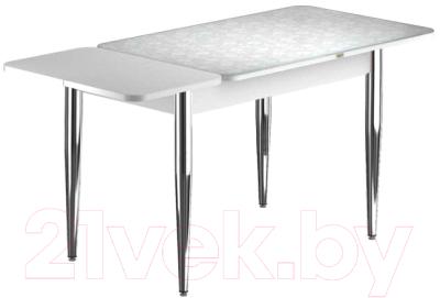 Обеденный стол Васанти Плюс ПРФ 120/163x80/1Р/ОБ (хром/Жасмин Б)