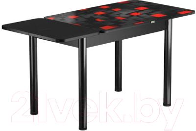 Обеденный стол Васанти Плюс ПРФ 110/153x70/Р/ОЧ (черный/104)