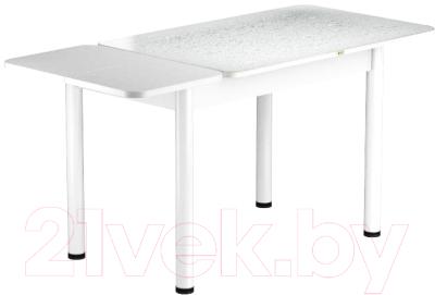 Обеденный стол Васанти Плюс ПРФ 110/153x70/Р/ОБ (белый/капли белые)