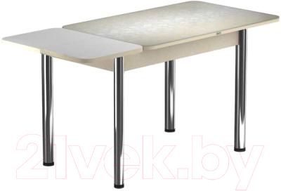 Обеденный стол Васанти Плюс ПРФ 110/153x70/Р/Обеж (хром/Жасмин Беж)