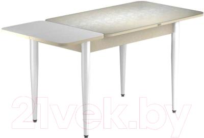 Обеденный стол Васанти Плюс ПРФ 110/153x70/1Р/Обеж (белый/Жасмин Беж)