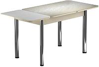 Обеденный стол Васанти Плюс ПРФ 100/143x60/Р/Обеж (хром/Жасмин Беж) -