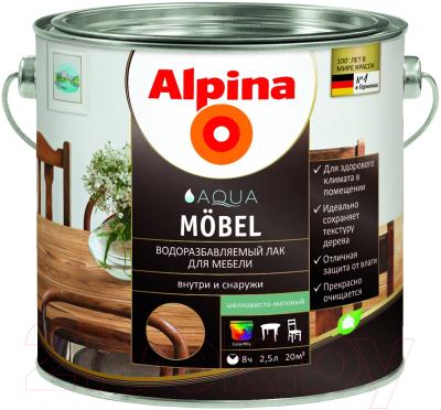 Лак Alpina Aqua Moebel (2.5л, шелковисто-матовый)