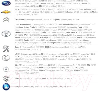 Монитор для камеры заднего вида Gazer MM701 - список совместимых моделей