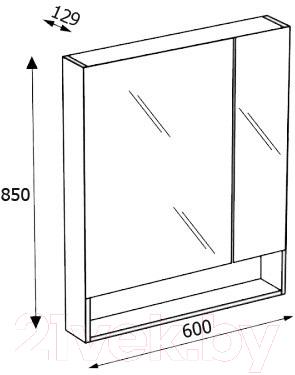 Шкаф с зеркалом для ванной Roca The Gap 60 ZRU9302844 (тиковое дерево)
