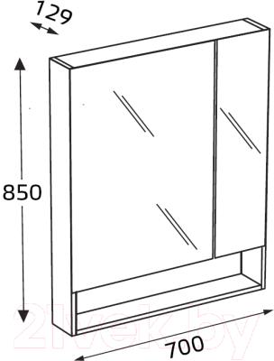 Шкаф с зеркалом для ванной Roca The Gap ZRU9302845 (тиковое дерево)