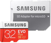 Карта памяти Samsung EVO Plus MicroSDHC 32GB + адаптер (MB-MC32GA) -