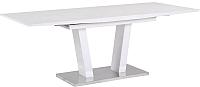 Обеденный стол Atreve Florence (белый лак/сталь шлифованная) -