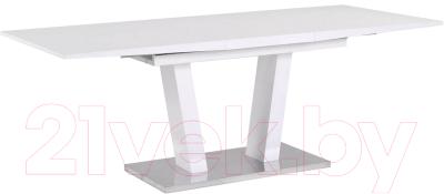 Обеденный стол Atreve Florence (белый лак/сталь шлифованная)