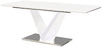 Обеденный стол Atreve Lorenzo (белый лак/сталь шлифованная) -