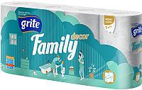 Туалетная бумага Grite Family Deco (трехслойная неокрашенная, 8рул) -