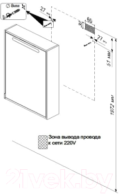 Шкаф с зеркалом для ванной Triton Диана 60 (002.42.0600.123.01.01.R)