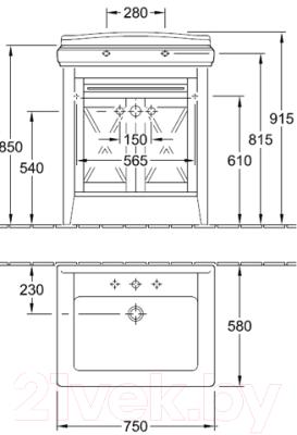 Тумба под умывальник Villeroy & Boch Hommage 8995 0001