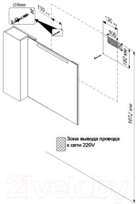 Шкаф с зеркалом для ванной Triton Диана 100 (002.42.1000.102.01.01.L)