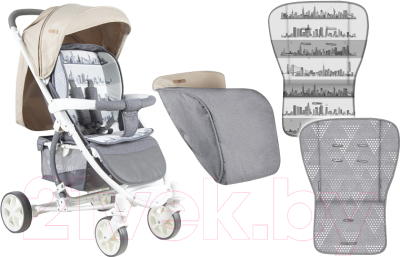 Детская прогулочная коляска Lorelli S300 Grey&Beige Cities (10020841747)