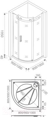 Душевой уголок Good Door Galaxy R-90-C-CH