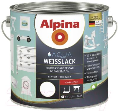 Эмаль Alpina Aqua Weisslack (2.5л, глянцевая)