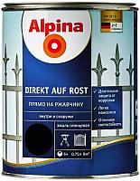 Эмаль Alpina Direkt auf Rost RAL9005 (750мл, черный) -