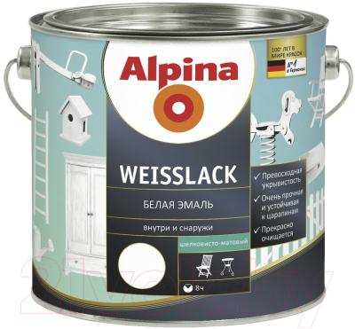 Эмаль Alpina Weisslack (750мл, шелковисто-матовая)