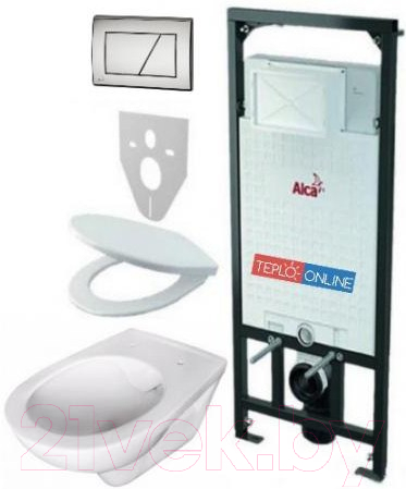 Купить Унитаз подвесной с инсталляцией Alcaplast, 5 в 1 Rimflow с кнопкой М171, Чехия, фаянс/санфаянс