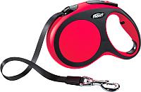 Поводок-рулетка Flexi New Comfort ремень S (5м, красный) -