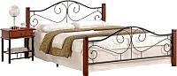 Полуторная кровать Halmar Violetta 120x200 (античная черешня/черный) -