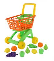 Тележка игрушечная Полесье №7 с набором продуктов / 61911 (оранжевый/салатовый) -