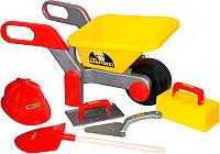Игровой набор Полесье Детская тачка №4 Construct с набором каменщика №4 / 50229 -