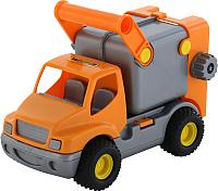 Мусоровоз игрушечный Полесье Коммунальный автомобиль КонсТрак / 0414 (оранжевый, в сеточке) -