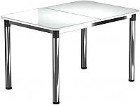 Обеденный стол Васанти Плюс Классик 110/158x70/ОХ (хром/белый) -