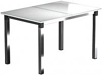 Обеденный стол Васанти Плюс Люкс 110/158x70/ОХ (хром/белый) -