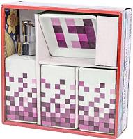 Набор аксессуаров для ванной Podari Mosaic Design 4 (розовый) -