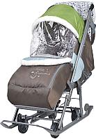 Санки-коляска Ника Наши Детки НДТ/5 (фьюжн, оливковый/коричневый) -