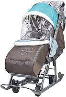 Санки-коляска Ника Наши Детки / НДТ/6 (фьюжн, голубой/коричневый) -