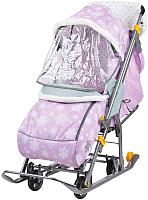 Санки-коляска Ника Наши Детки / НДТ/2 (снежинки, розовый) -