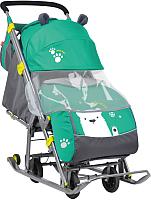 Санки-коляска Ника Детям 7 / НД7 (мишка, изумрудный) -