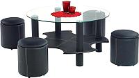 Журнальный столик Halmar Belinda + 4 пуфа (черный) -
