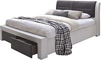 Двуспальная кровать Halmar Cassandra S (белый/черный) -