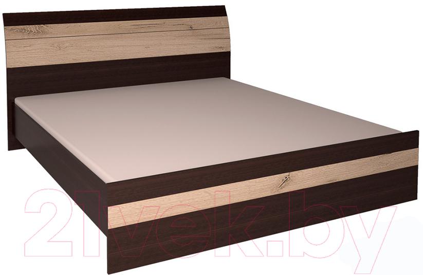 Купить Двуспальная кровать Интерлиния, Коламбия КЛ-001 160 с основанием (дуб венге/дуб серый), Беларусь