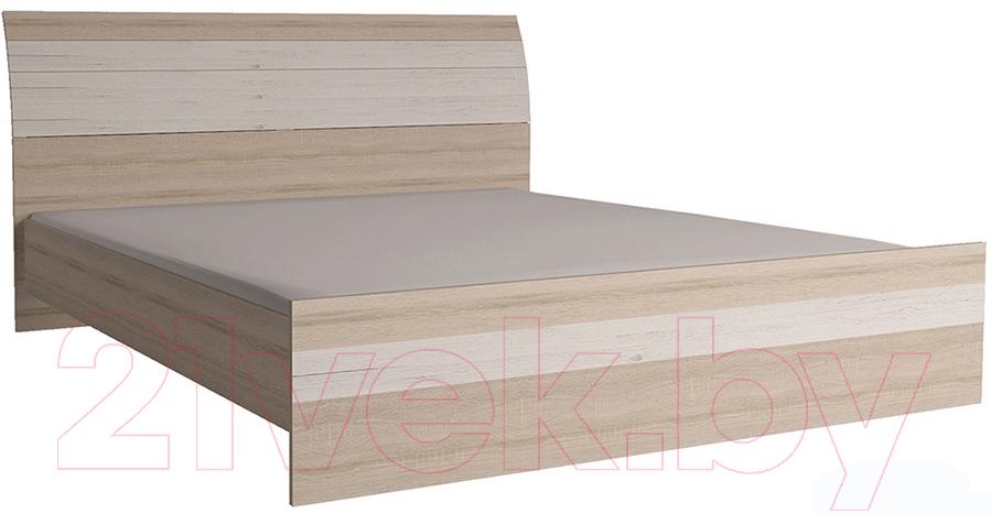 Купить Двуспальная кровать Интерлиния, Коламбия КЛ-001 160 с основанием (дуб сонома/дуб белый), Беларусь