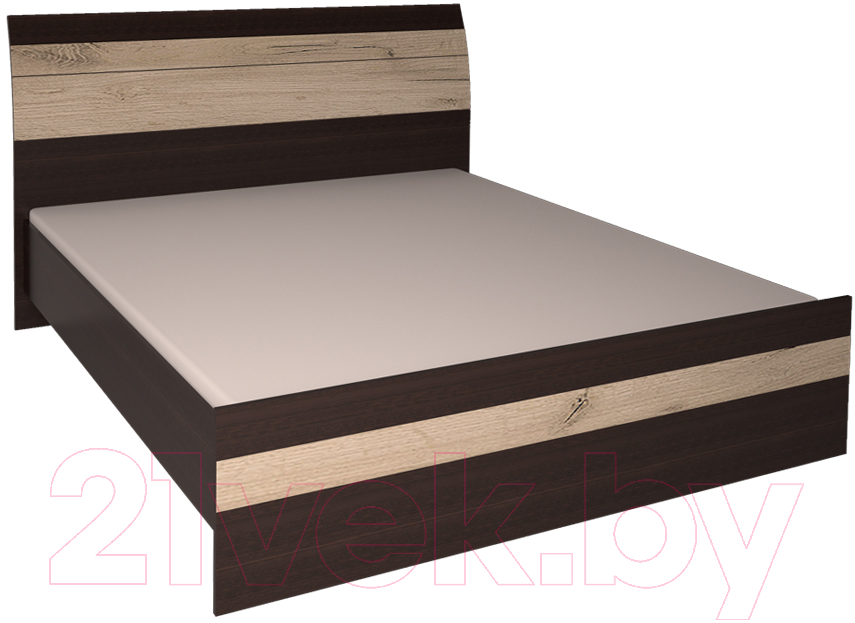 Купить Полуторная кровать Интерлиния, Коламбия КЛ-001-2 140 с основанием (дуб венге/дуб серый), Беларусь